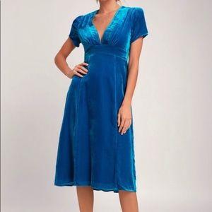 Revolve WAYF Blue Velvet Dress Empire Waist XS